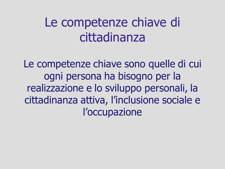 Le competenze chiave di cittadinanza Le competenze chiave sono quelle di cui ogni persona ha bisogno per la realizzazione e lo sviluppo personali, la