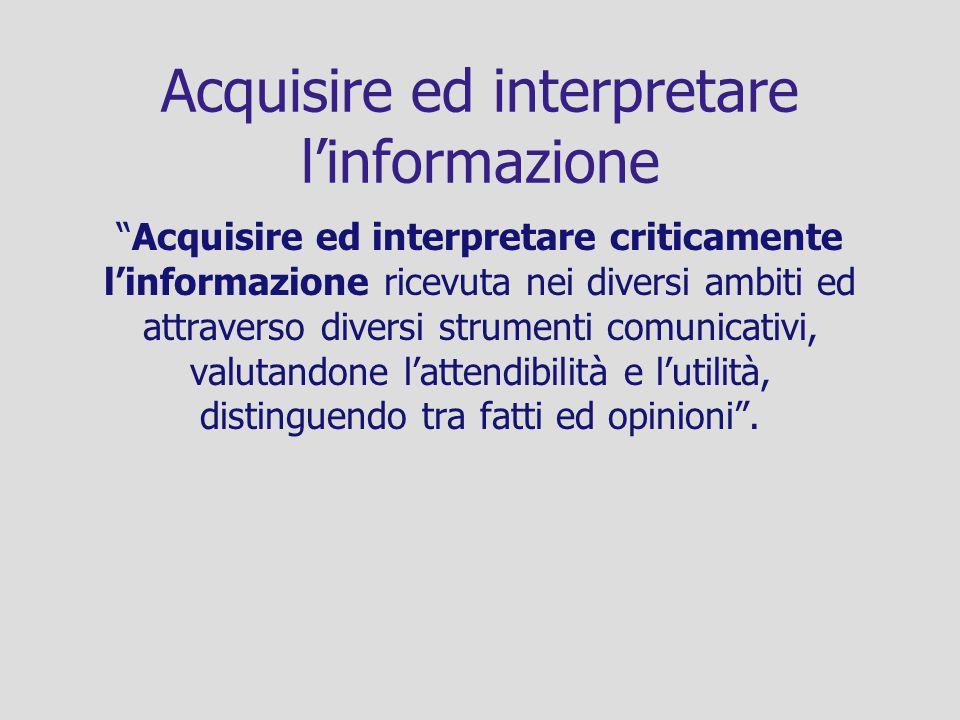 Acquisire ed interpretare linformazione Acquisire ed interpretare criticamente linformazione ricevuta nei diversi ambiti ed attraverso diversi strumen