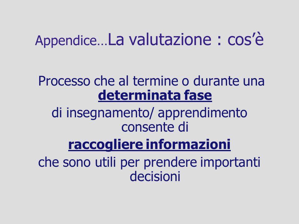 Appendice… La valutazione : cosè Processo che al termine o durante una determinata fase di insegnamento/ apprendimento consente di raccogliere informa