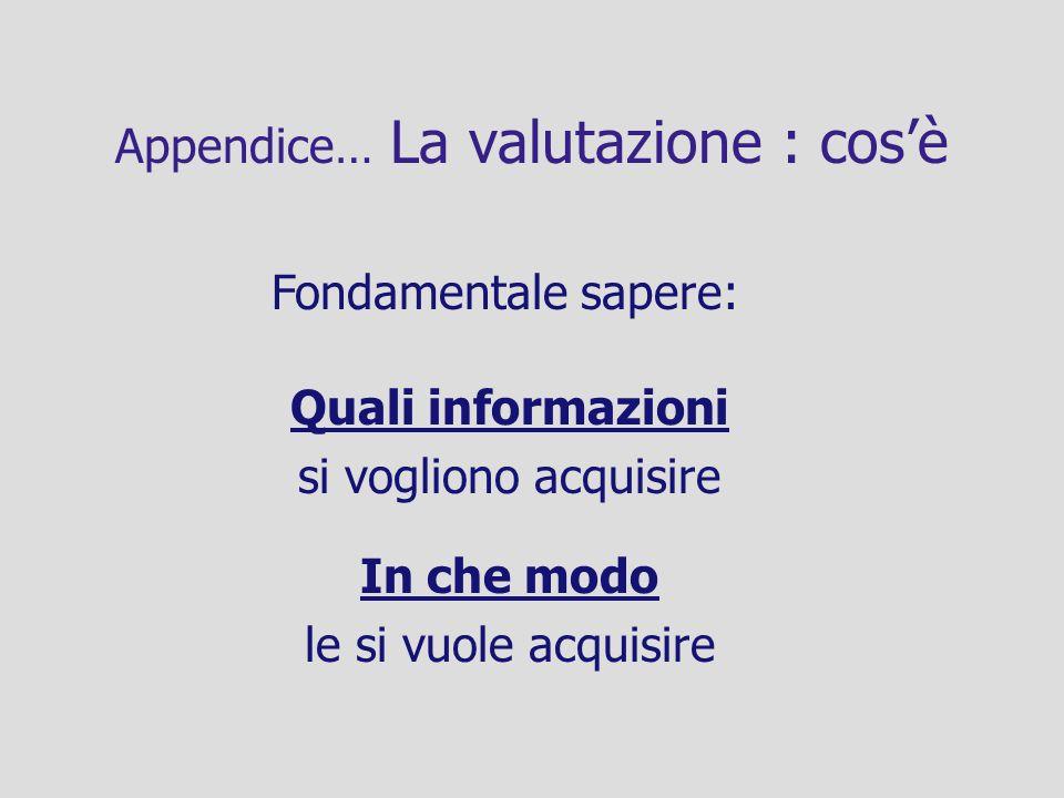 Appendice… La valutazione : cosè Fondamentale sapere: Quali informazioni si vogliono acquisire In che modo le si vuole acquisire