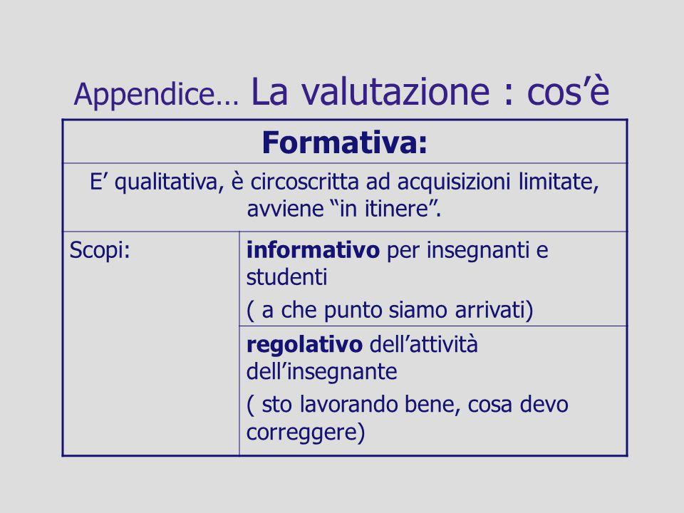 Appendice… La valutazione : cosè Formativa: E qualitativa, è circoscritta ad acquisizioni limitate, avviene in itinere. Scopi:informativo per insegnan