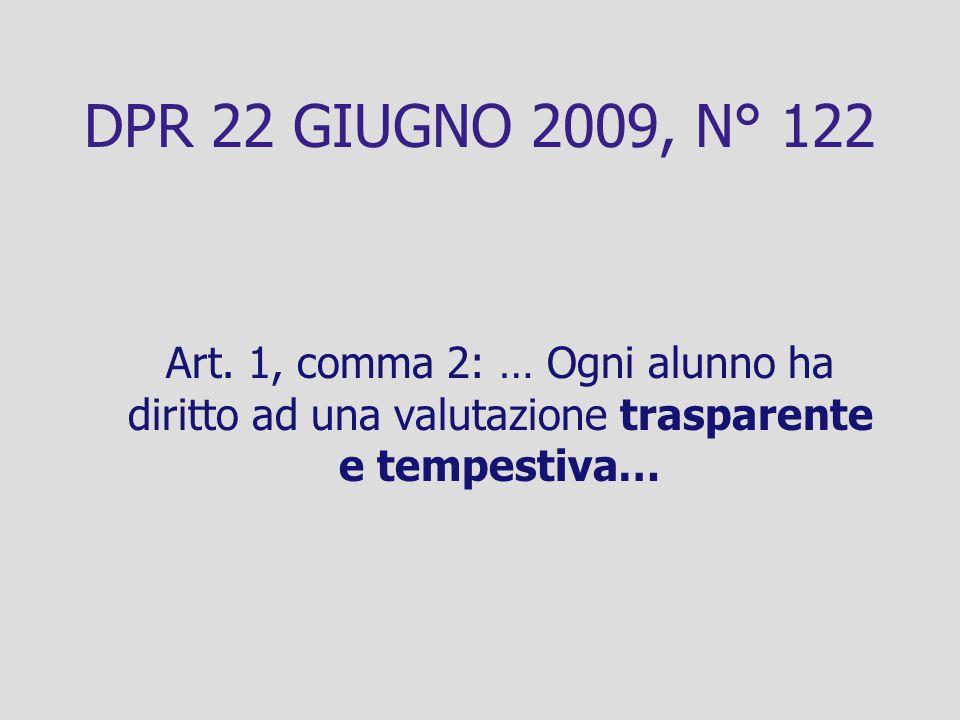 DPR 22 GIUGNO 2009, N° 122 Art. 1, comma 2: … Ogni alunno ha diritto ad una valutazione trasparente e tempestiva…