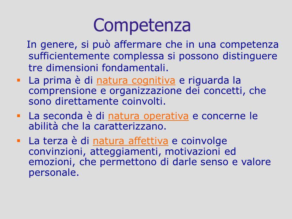 Competenza In genere, si può affermare che in una competenza sufficientemente complessa si possono distinguere tre dimensioni fondamentali. La prima è