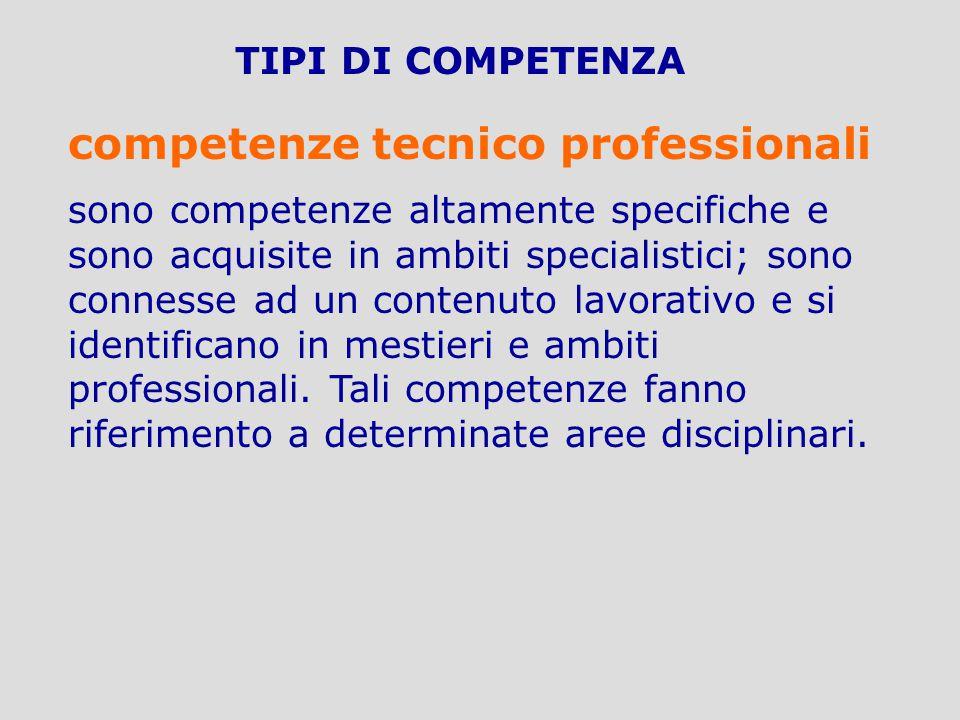 TIPI DI COMPETENZA competenze tecnico professionali sono competenze altamente specifiche e sono acquisite in ambiti specialistici; sono connesse ad un