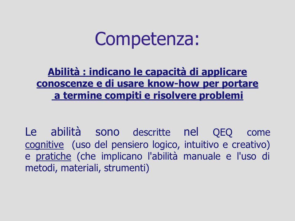 Competenza: Abilità : indicano le capacità di applicare conoscenze e di usare know-how per portare a termine compiti e risolvere problemi Le abilità s