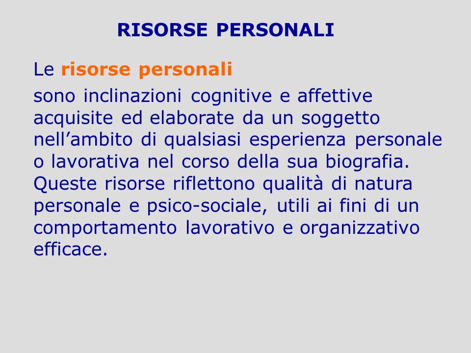 RISORSE PERSONALI Le risorse personali sono inclinazioni cognitive e affettive acquisite ed elaborate da un soggetto nellambito di qualsiasi esperienz