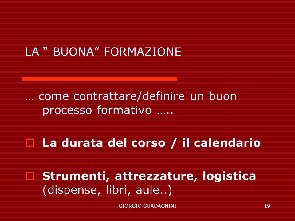 GIORGIO GUADAGNINI19 LA BUONA FORMAZIONE … come contrattare/definire un buon processo formativo ….. La durata del corso / il calendario Strumenti, att