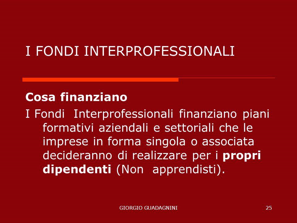 GIORGIO GUADAGNINI25 I FONDI INTERPROFESSIONALI Cosa finanziano I Fondi Interprofessionali finanziano piani formativi aziendali e settoriali che le imprese in forma singola o associata decideranno di realizzare per i propri dipendenti (Non apprendisti).