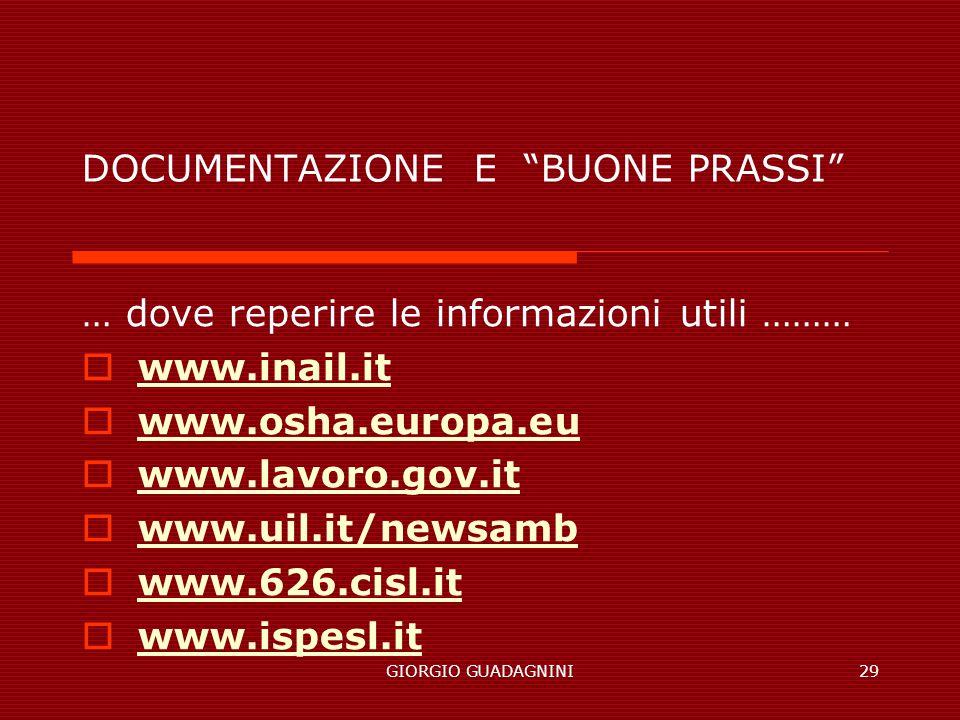 GIORGIO GUADAGNINI29 DOCUMENTAZIONE E BUONE PRASSI … dove reperire le informazioni utili ……… www.inail.it www.osha.europa.eu www.lavoro.gov.it www.uil.it/newsamb www.626.cisl.it www.ispesl.it