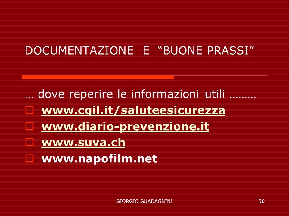 GIORGIO GUADAGNINI30 DOCUMENTAZIONE E BUONE PRASSI … dove reperire le informazioni utili ……… www.cgil.it/saluteesicurezza www.diario-prevenzione.it www.suva.ch www.napofilm.net