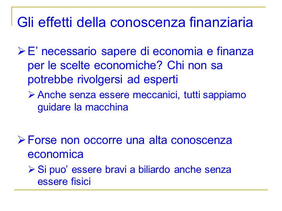 Gli effetti della conoscenza finanziaria E necessario sapere di economia e finanza per le scelte economiche? Chi non sa potrebbe rivolgersi ad esperti