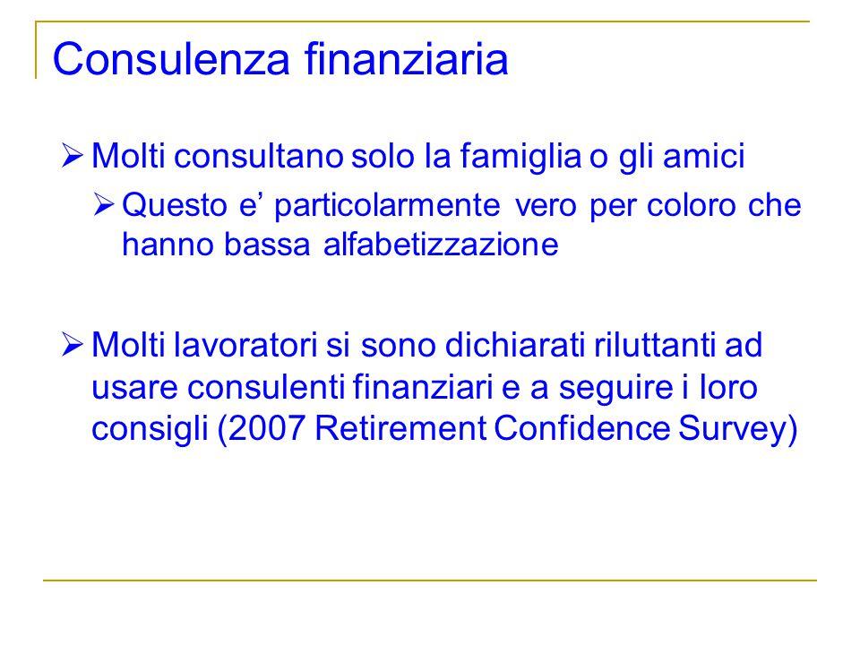 Consulenza finanziaria Molti consultano solo la famiglia o gli amici Questo e particolarmente vero per coloro che hanno bassa alfabetizzazione Molti l