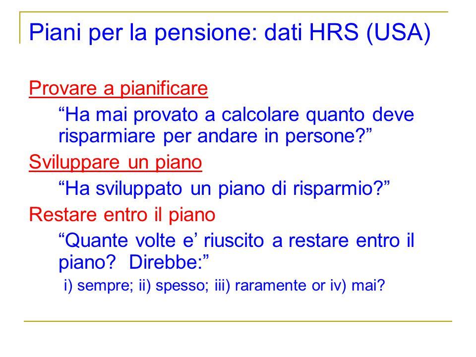 Piani per la pensione: dati HRS (USA) Provare a pianificare Ha mai provato a calcolare quanto deve risparmiare per andare in persone? Sviluppare un pi