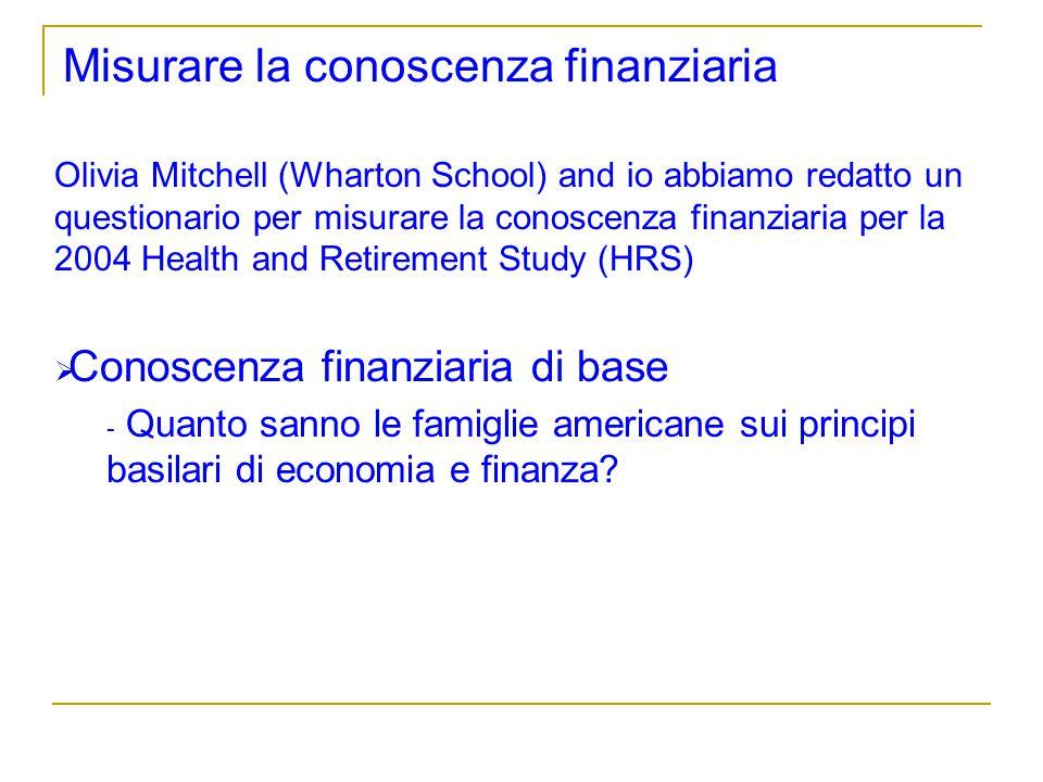 Misurare la conoscenza finanziaria Olivia Mitchell (Wharton School) and io abbiamo redatto un questionario per misurare la conoscenza finanziaria per