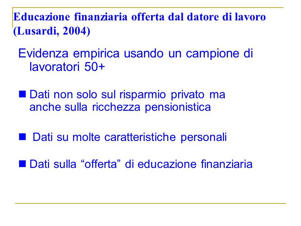 Educazione finanziaria offerta dal datore di lavoro (Lusardi, 2004) Evidenza empirica usando un campione di lavoratori 50+ Dati non solo sul risparmio