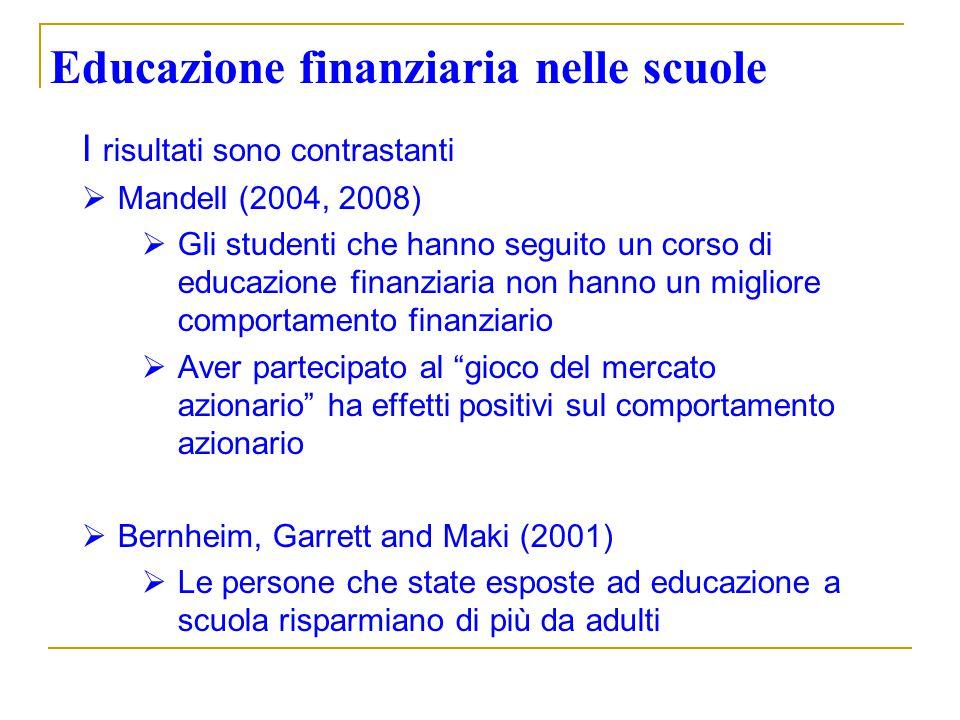Educazione finanziaria nelle scuole I risultati sono contrastanti Mandell (2004, 2008) Gli studenti che hanno seguito un corso di educazione finanziar
