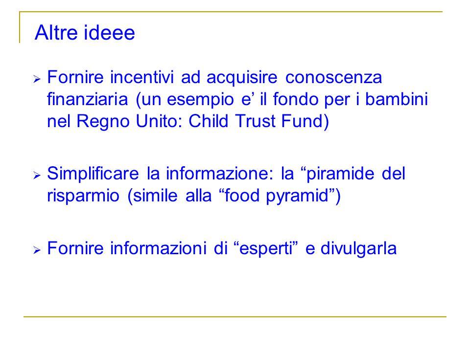 Altre ideee Fornire incentivi ad acquisire conoscenza finanziaria (un esempio e il fondo per i bambini nel Regno Unito: Child Trust Fund) Simplificare