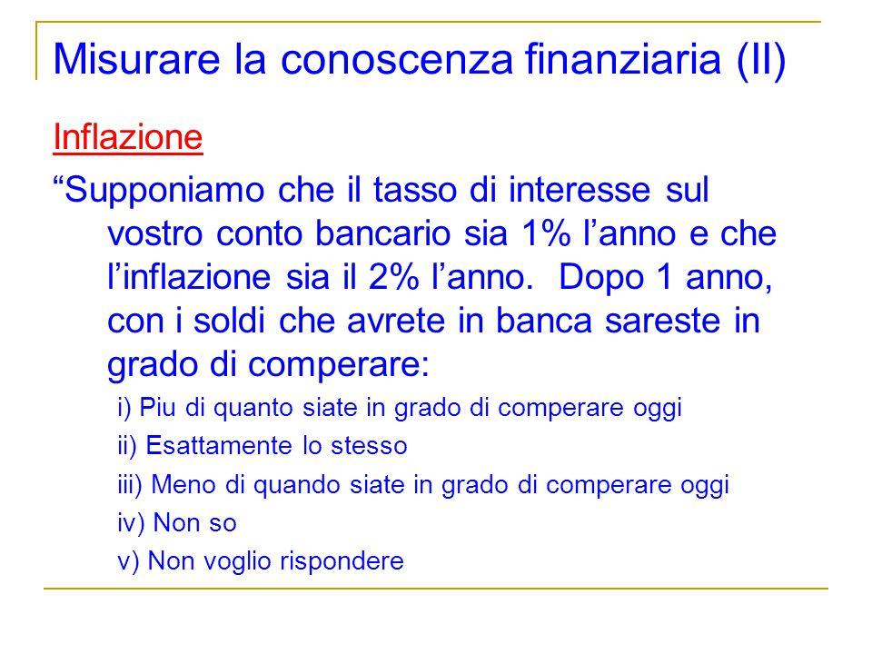 Misurare la conoscenza finanziaria (II) Inflazione Supponiamo che il tasso di interesse sul vostro conto bancario sia 1% lanno e che linflazione sia i