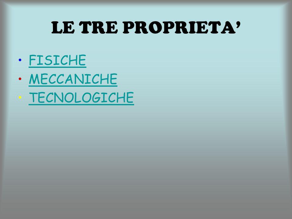 FISICHE MECCANICHE TECNOLOGICHE LE TRE PROPRIETA