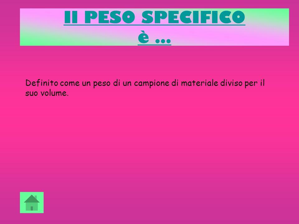 Il PESO SPECIFICO è … Definito come un peso di un campione di materiale diviso per il suo volume.