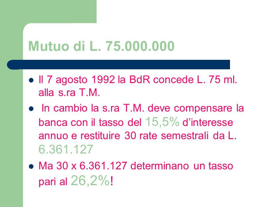 Mutuo di L.75.000.000 Il 7 agosto 1992 la BdR concede L.