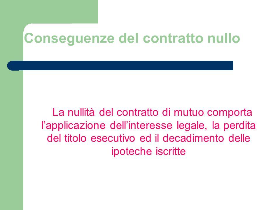 Conseguenze del contratto nullo La nullità del contratto di mutuo comporta lapplicazione dellinteresse legale, la perdita del titolo esecutivo ed il decadimento delle ipoteche iscritte