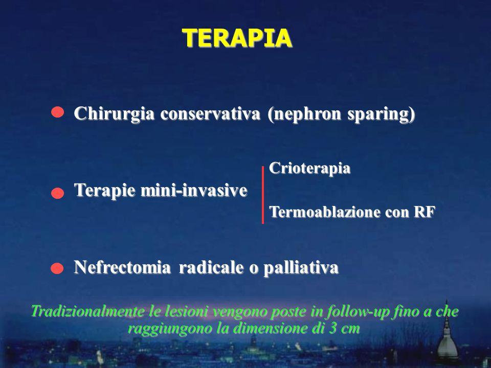 Chirurgia conservativa (nephron sparing) Terapie mini-invasive Nefrectomia radicale o palliativa TERAPIA Crioterapia Termoablazione con RF Tradizionalmente le lesioni vengono poste in follow-up fino a che raggiungono la dimensione di 3 cm
