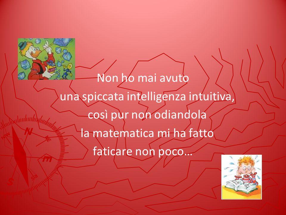 Non ho mai avuto una spiccata intelligenza intuitiva, così pur non odiandola la matematica mi ha fatto faticare non poco…