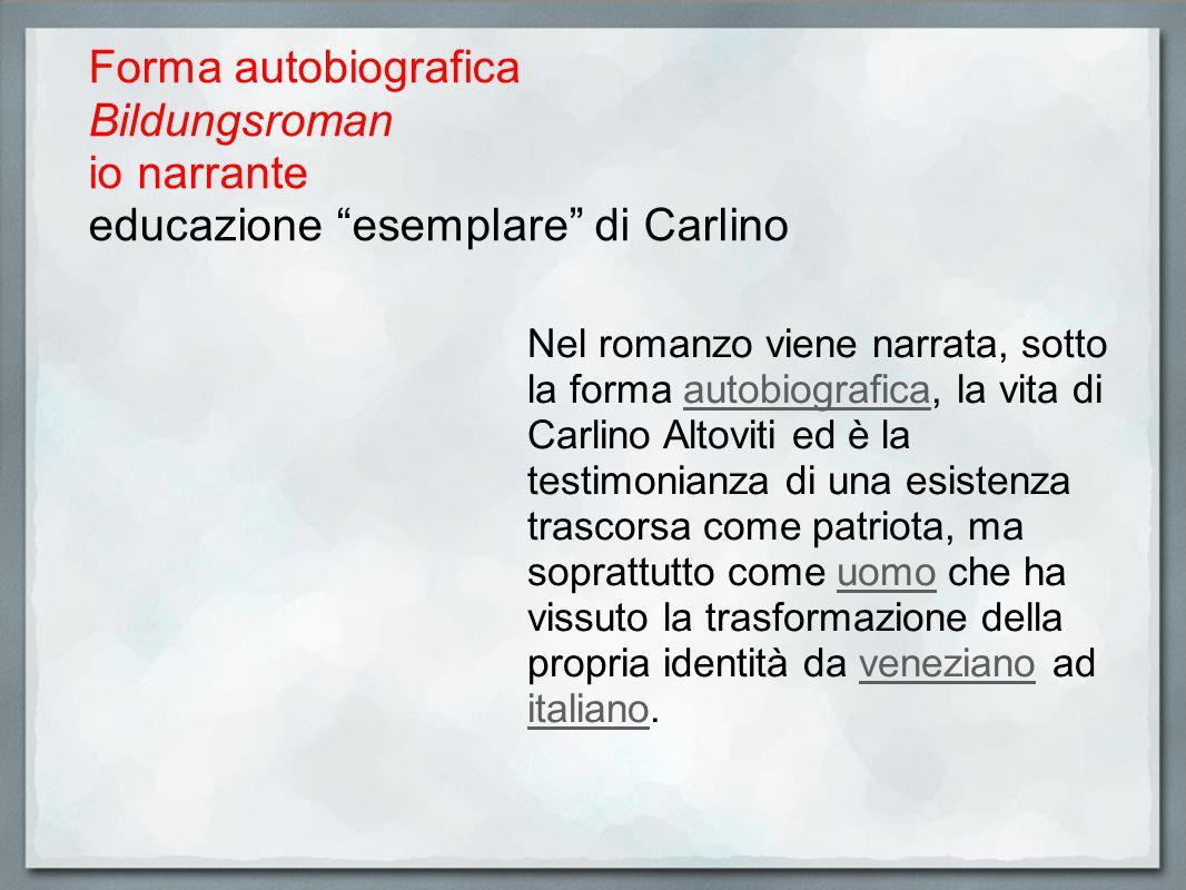 Forma autobiografica Bildungsroman io narrante educazione esemplare di Carlino Nel romanzo viene narrata, sotto la forma autobiografica, la vita di Ca