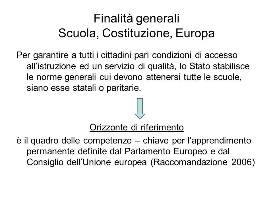 Finalità generali Scuola, Costituzione, Europa Per garantire a tutti i cittadini pari condizioni di accesso allistruzione ed un servizio di qualità, l