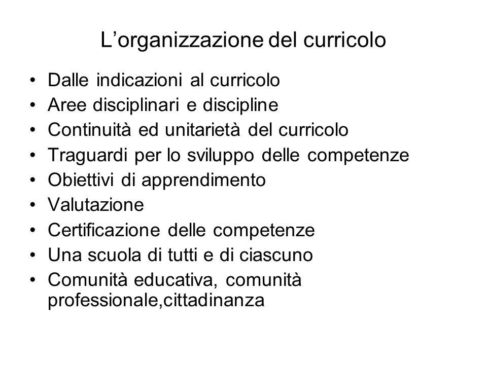 Lorganizzazione del curricolo Dalle indicazioni al curricolo Aree disciplinari e discipline Continuità ed unitarietà del curricolo Traguardi per lo sv