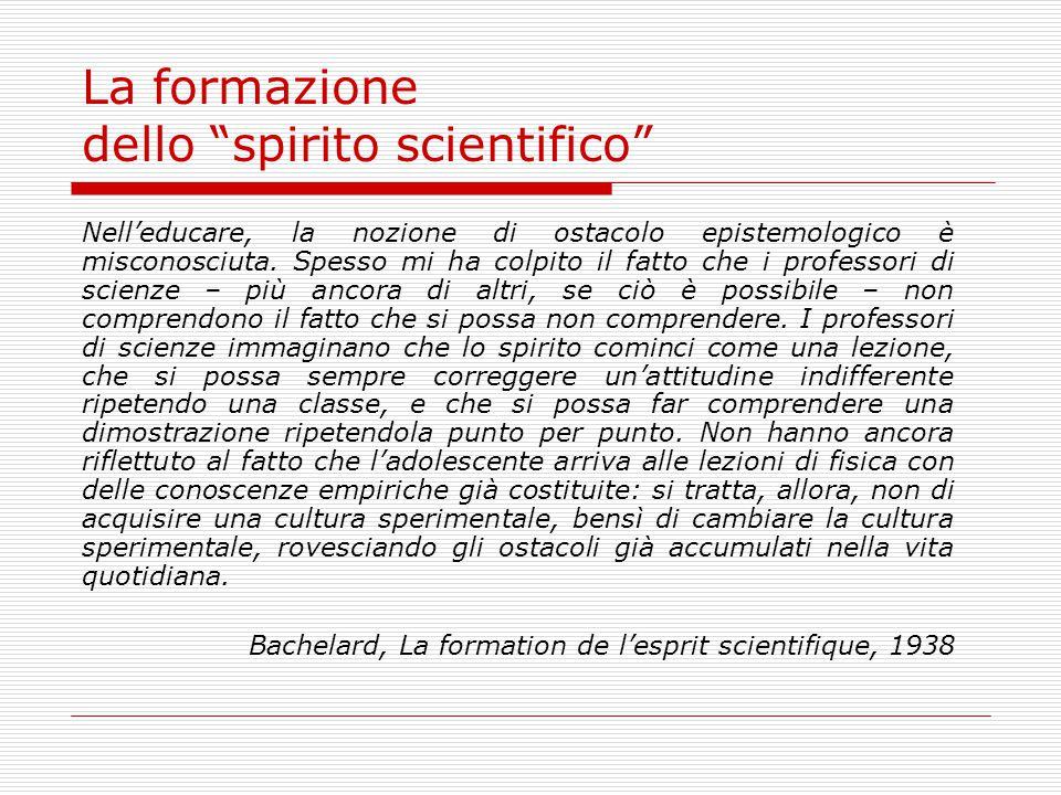 La formazione dello spirito scientifico Nelleducare, la nozione di ostacolo epistemologico è misconosciuta.
