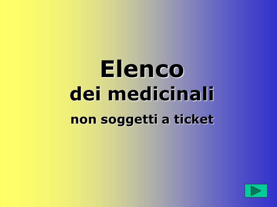 Elenco dei medicinali non soggetti a ticket