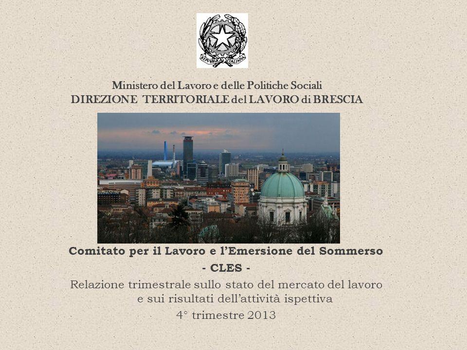 Comitato per il Lavoro e lEmersione del Sommerso - CLES - Relazione trimestrale sullo stato del mercato del lavoro e sui risultati dellattività ispett