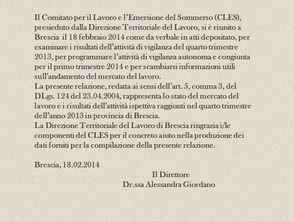 Il Comitato per il Lavoro e lEmersione del Sommerso (CLES), presieduto dalla Direzione Territoriale del Lavoro, si è riunito a Brescia il 18 febbraio