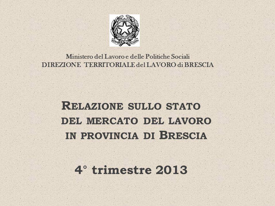 R ELAZIONE SULLO STATO DEL MERCATO DEL LAVORO IN PROVINCIA DI B RESCIA 4° trimestre 2013 Ministero del Lavoro e delle Politiche Sociali DIREZIONE TERR