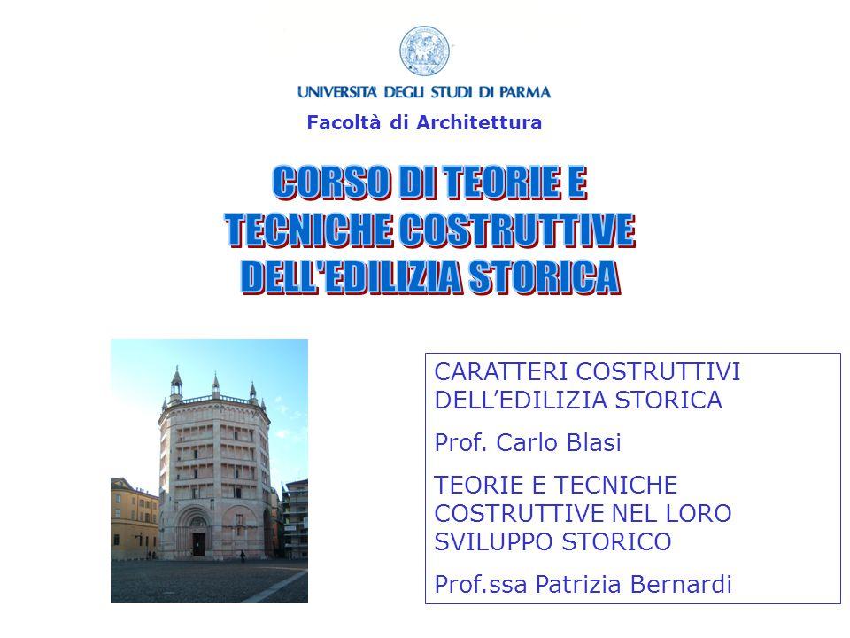 CARATTERI COSTRUTTIVI DELLEDILIZIA STORICA Prof.