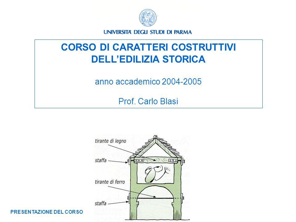 CORSO DI CARATTERI COSTRUTTIVI DELLEDILIZIA STORICA anno accademico 2004-2005 Prof. Carlo Blasi PRESENTAZIONE DEL CORSO