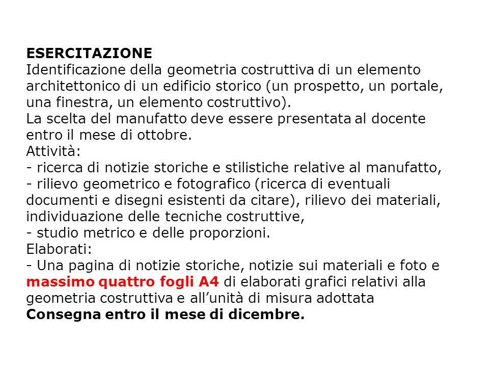 ESERCITAZIONE Identificazione della geometria costruttiva di un elemento architettonico di un edificio storico (un prospetto, un portale, una finestra, un elemento costruttivo).