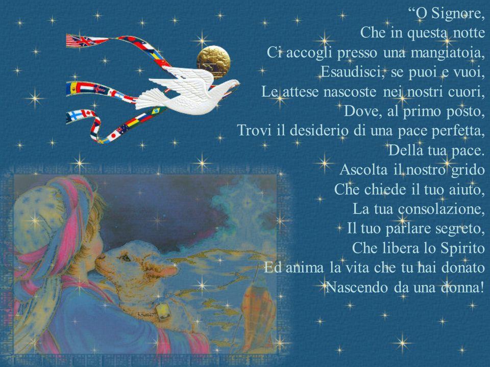 Una scia di luce nel cielo, Infinite voci di angeli festanti, Una moltitudine di pastori, Correvano verso la grotta, Nella fredda notte Di quel lontan