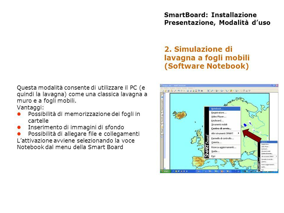 SmartBoard: Installazione Presentazione, Modalità duso Questa modalità consente di utilizzare il PC (e quindi la lavagna) come una classica lavagna a