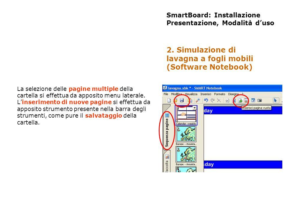 SmartBoard: Installazione Presentazione, Modalità duso La selezione delle pagine multiple della cartella si effettua da apposito menu laterale. Linser