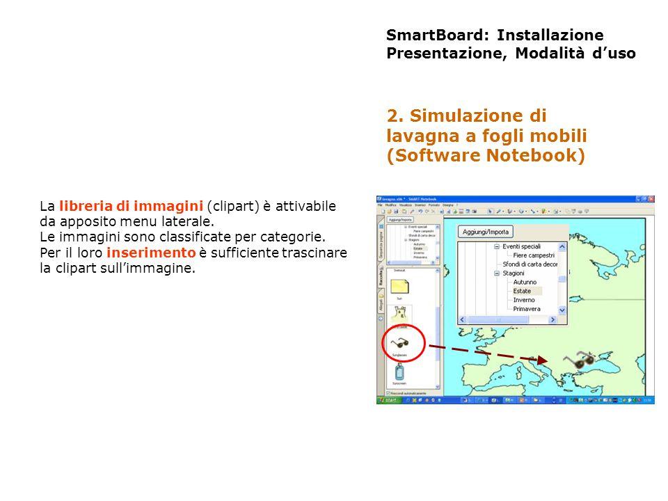 SmartBoard: Installazione Presentazione, Modalità duso La libreria di immagini (clipart) è attivabile da apposito menu laterale. Le immagini sono clas