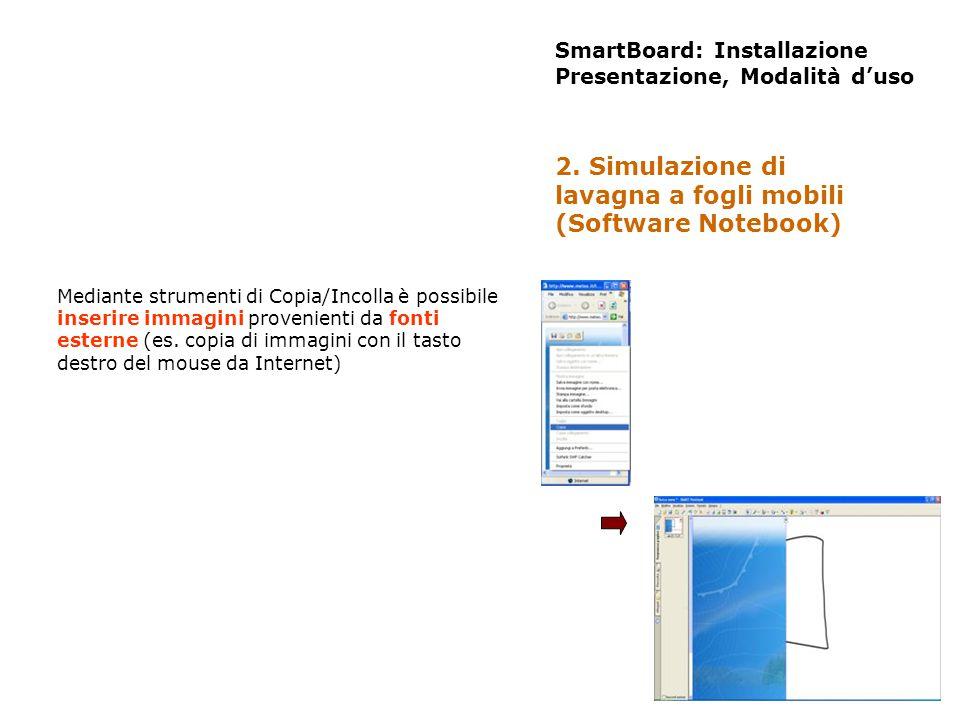 SmartBoard: Installazione Presentazione, Modalità duso Mediante strumenti di Copia/Incolla è possibile inserire immagini provenienti da fonti esterne