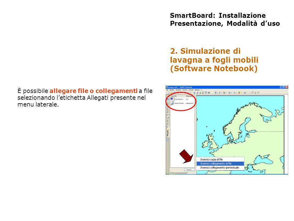 SmartBoard: Installazione Presentazione, Modalità duso È possibile allegare file o collegamenti a file selezionando letichetta Allegati presente nel m