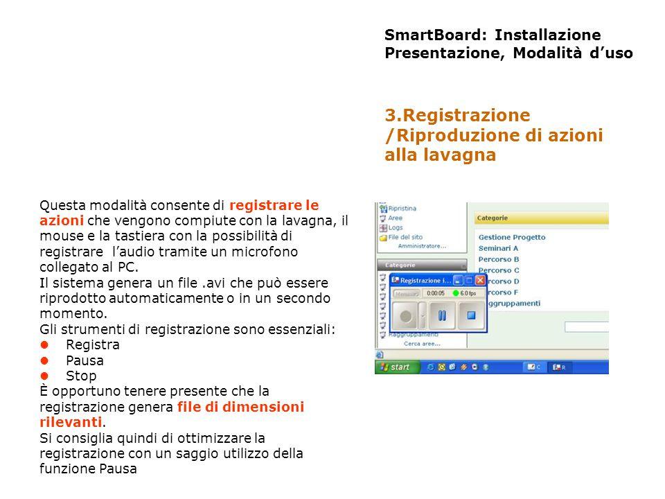 SmartBoard: Installazione Presentazione, Modalità duso Questa modalità consente di registrare le azioni che vengono compiute con la lavagna, il mouse