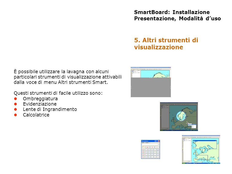 SmartBoard: Installazione Presentazione, Modalità duso È possibile utilizzare la lavagna con alcuni particolari strumenti di visualizzazione attivabil