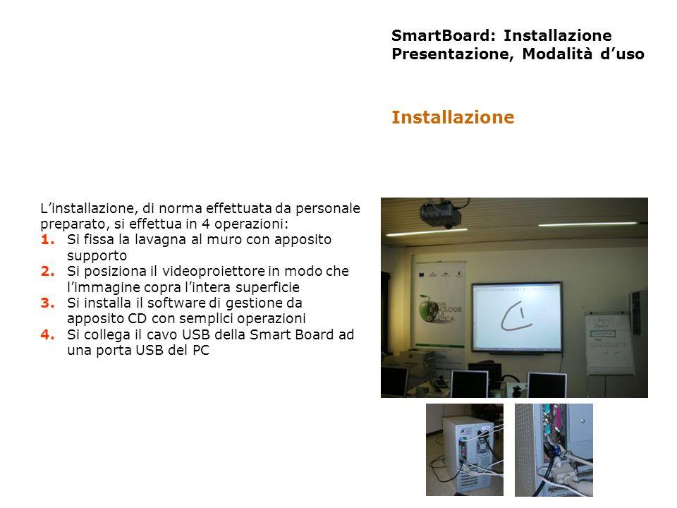 SmartBoard: Installazione Presentazione, Modalità duso Linstallazione, di norma effettuata da personale preparato, si effettua in 4 operazioni: 1. Si