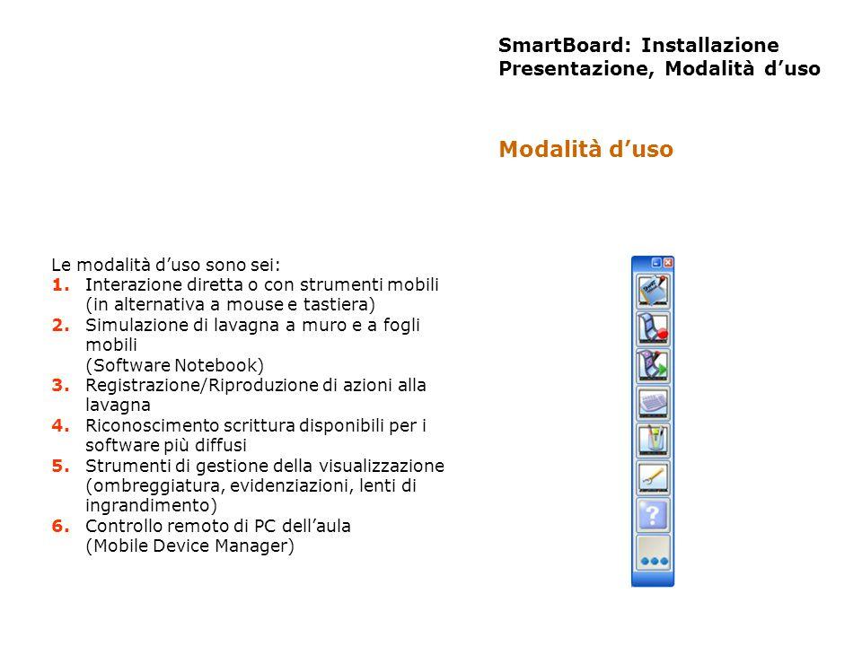 SmartBoard: Installazione Presentazione, Modalità duso Le modalità duso sono sei: 1. Interazione diretta o con strumenti mobili (in alternativa a mous