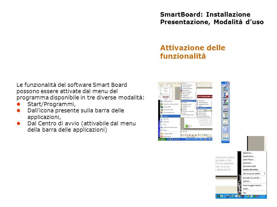 SmartBoard: Installazione Presentazione, Modalità duso Le funzionalità del software Smart Board possono essere attivate dal menu del programma disponi